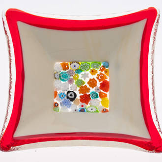 Murano glass dish - Millefiori Bead Centre (Red)