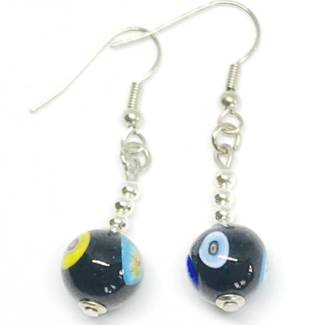 Murano Glass Bead Earrings - Carolina Black 10mm