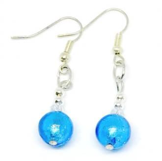 Murano Glass Bead Earrings - Oceano (Aqua/Silver)