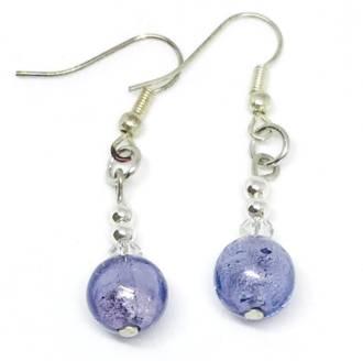 Murano Glass Bead Earrings - Oceano (Lilac-silver foil)