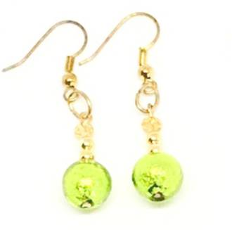 Murano Glass Bead Earrings - Oceano (Lime/Gold)