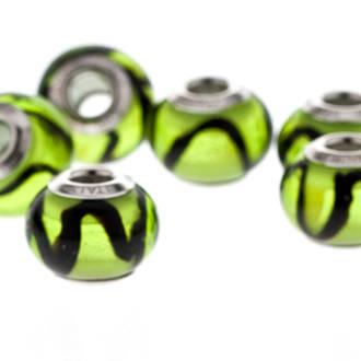 Charm Bracelet Bead - Murano Glass Green-Black