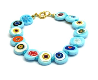 Murano Glass Bead Bracelet - Nerida (Flat) Aqua