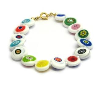 Murano Glass Bead Bracelet - Nerida (Flat bead) White