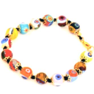 Murano Glass Bead Bracelet - Nerida (Multicoloured)