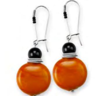 Murano Glass Bead Earrings - Ochre/Black