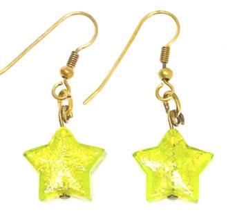 Murano Glass Bead Earrings - Simona Star (Green/Gold)