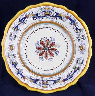 Hand-Painted Ceramics Ricco Deruta Serving Bowl Scalloped