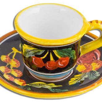 Hand-Painted Ceramics Zafiro Espresso Coffee Cup and Saucer