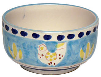 Hand-Painted Ceramics Gallinelle Cereal Bowl Light Blue