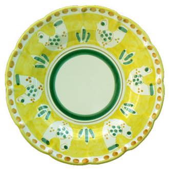 Hand-Painted Ceramics Gallinelle Dessert Plate Yellow