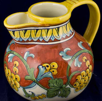 Hand-Painted Ceramics Corallo Jug w Strainer