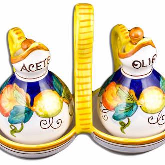 Hand-Painted Ceramics Alcantara Oil and Vinegar Set