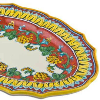 Hand-Painted Ceramics Corallo Oval Platter 500x350mm