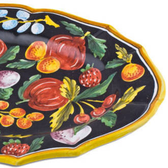 Hand-Painted Ceramics Zafiro Oval Platter 500x350mm