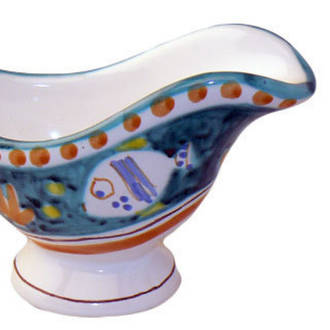 Hand-Painted Ceramics Pesce Sauce Boat Green