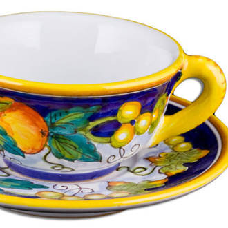 Hand-Painted Ceramics Alcantara Teacup and Saucer