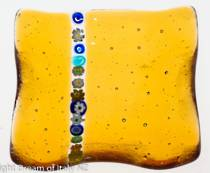 Murano glass dish - with millefiore stripe (Amber)