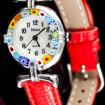 Murano Glass Watch (Chrome) Red Strap