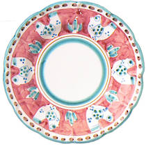 Hand-Painted Ceramics Gallinelle Dessert/Pasta Plate Red