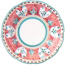 Hand-Painted Ceramics Gallinelle Dessert/Pasta Plate Red