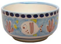 Hand-Painted Ceramics Pesce Cereal Bowl Light Blue