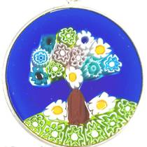 Murano Glass Pendant Millefiori  23mm - Tree of Life (Blue)