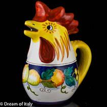 Hand-Painted Ceramic Alcantara Rooster Jug Large