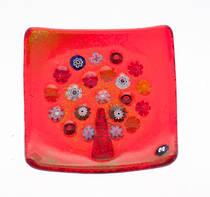 Murano glass dish - Millefiori Bead Tree (Red)