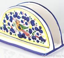 Hand-Painted Ceramics Arabesque Deruta Napkin Holder