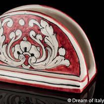 Italian Ceramics Fondo Rosso Napkin Holder