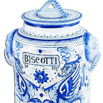 Italian Ceramic Biscotti Jar Raffaelesco