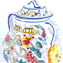 Hand-Painted Ceramics Floreale Biscotti Jar