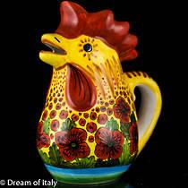 Hand-Painted Italian Ceramics Papaveri Rooster Jug Large
