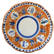Hand-Painted Ceramics Pesce Round Plate Large Orange