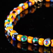Murano Glass Millefiori Bead Necklace Nerida 8mm Orange