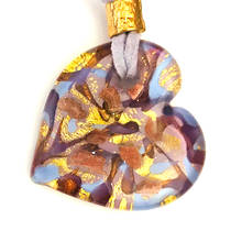 Murano Glass Heart Pendant with Gold Leaf - Lilac