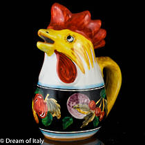 Hand-Painted Ceramic Zafiro Rooster Jug (Large)