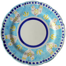 Hand-Painted Ceramics Gallinelle Dessert/Pasta plate Light Blue