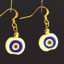 Murano Glass Bead Earrings - Nerida Flat Bead - white