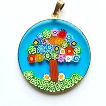 Murano Glass Pendant Millefiori 36mm Tree of Life