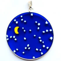 Murano Glass Pendant Millefiori 36mm Night Sky