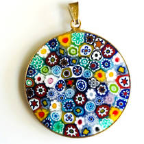 Murano Glass Pendant Millefiori 32mm - Multi A