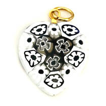 Murano Glass Pendant Millefiori Heart 20mm 3