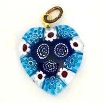 Murano Glass Pendant Millefiori Heart 20mm 2