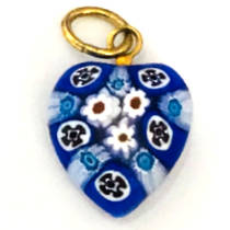 Murano Glass Pendant Millefiori Heart 10mm