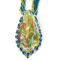 Murano Glass Pendant Elisabetta - Aqua/White/Gold