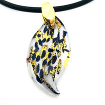 Murano Glass Pendant Caterina Blue/White/Gold