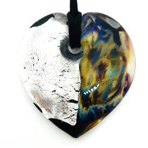 Murano Glass Heart Pendant with Silver Leaf (large)