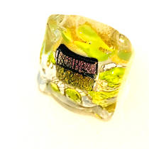 Murano Glass Millefiori Ring Brillante Green/White